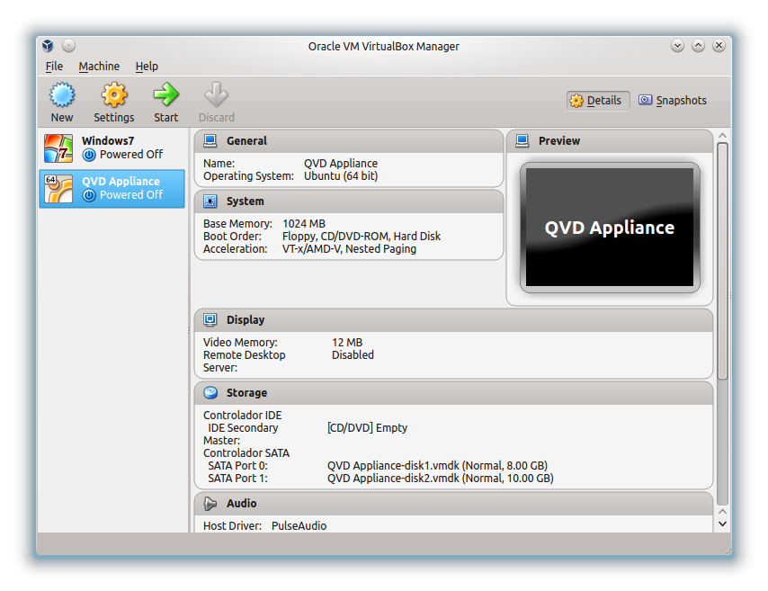 QVD Appliance VirtualBox